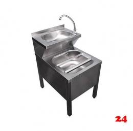 AfG Ausguß-Handwaschbecken Kombi. AHK-7085 verschweißte Ausführung mit Mischbatterie und Klapprost