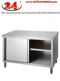 AfG Arbeitsschrank mit Schiebetüren (B1400xT600) AS146 verschweißte Ausführung Arbeitsplatte 4-Seitig mit Tropfkante