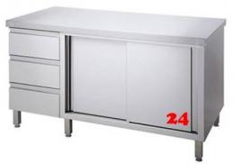 AfG Arbeitsschrank mit Schubladenblock und Schiebetüren (B1300xT700) ASB137 verschweißte Ausführung