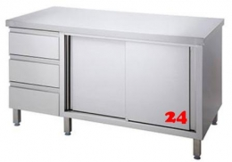 AfG Arbeitsschrank mit Schubladenblock und Schiebetüren (B1500xT700) ASB157 verschweißte Ausführung