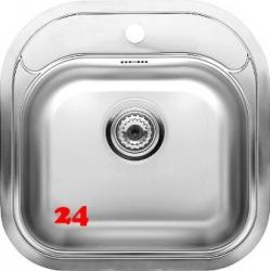 REGINOX Küchenspüle Boston R Einbauspüle Edelstahl mit Einbaurand Siebkorb als Stopfenventil