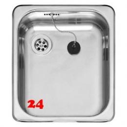 REGINOX Küchenspüle R18 3530 OSK Einbauspüle Edelstahl mit Einbaurand Ablauf mit Gummistopfen