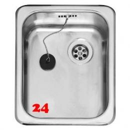 REGINOX Küchenspüle R18 2330 OSK Einbauspüle Edelstahl mit Einbaurand Ablauf mit Gummistopfen
