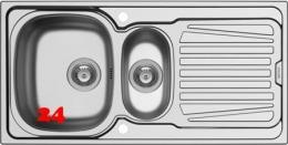 PYRAMIS Küchenspüle Sparta (100x50) 1 1/2B 1D Einbauspüle / Edelstahlspüle Leinenoptik Siebkorb als Drehknopfventil