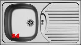 {Lager} PYRAMIS Küchenspüle ET78 (78x43,5) 1B 1D Einbauspüle Leinenoptik Ablauf mit Gummistopfen ohne Hahnlochbohrung