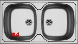 PYRAMIS Küchenspüle E78 (78x43,5) 2B Einbauspüle / Doppelspüle Ablauf mit Gummistopfen ohne Hahnlochbohrung