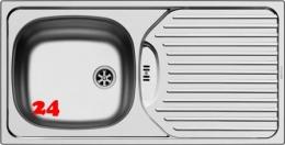 PYRAMIS Küchenspüle CA1 (86x43,5) 1B 1D Einbauspüle / Edelstahlspüle Ablauf mit Gummistopfen ohne Hahnlochbohrung