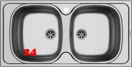 PYRAMIS Küchenspüle E33/33 (86x43,5) 2B Einbauspüle / Doppelspüle Ablauf mit Gummistopfen