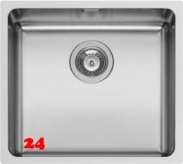 PYRAMIS Küchenspüle Lydia (45x40) 1B Einbauspüle Flachrand / Flächenbündig Siebkorb als Stopfen- oder Drehknopfventil
