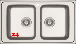 PYRAMIS Küchenspüle Alea (86x50) 2B Einbauspüle / Doppelspüle Siebkorb als Stopfenventil