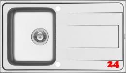 PYRAMIS Küchenspüle Alea (86x50) 1B 1D Einbauspüle / Edelstahlspüle Siebkorb als Drehknopfventil