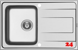 PYRAMIS Küchenspüle Alea (79x50) 1B 1D Einbauspüle / Edelstahlspüle Siebkorb als Drehknopfventil