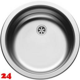 PYRAMIS Küchenspüle CR-Rundbecken (Ø38,5x15) Einbauspüle / Edelstahlspüle Leinenoptik Ablauf mit Gummistopfen 1 1/2
