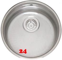 REGINOX Küchenspüle L18 390 (L) OKG Einbauspüle Edelstahl mit Flachrand Rundbecken 3 in 1 mit Siebkorb als Stopfenventil