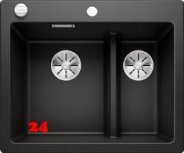 BLANCO Küchenspüle Pleon 6 Split Silgranit® PuraDur®II Granitspüle / Einbauspüle Ablaufsystem InFino mit Drehknopfventil