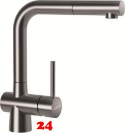 SCHOCK Küchenarmatur Laios EDM Einhebelmischer Edelstahl massiv mit Zugauslauf 360° schwenkbarer Auslauf mit Schlauchbrause