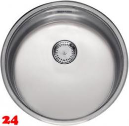 REGINOX Küchenspüle R18 390 Comfort OKG Einbauspüle Edelstahl mit Einbaurand Rundbecken mit Siebkorb als Stopfenventil