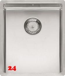REGINOX Küchenspüle New York 34x40 (L) Comfort Einbauspüle Edelstahl 3 in 1 mit Flachrand Siebkorb als Stopfenventil