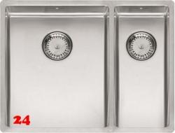 REGINOX New York 34x40/18x40-FL-BL Einbauspüle 3 in 1 mit Flachrand Siebkorb als Stopfenventil