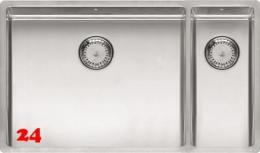 REGINOX New York 50x40/18x40-FL-BL Einbauspüle 3 in 1 mit Flachrand Siebkorb als Stopfenventil