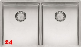 REGINOX Küchenspüle New York 34x40/34x40 (L) Comfort Einbauspüle 3 in 1 mit Flachrand Doppelbecken mit Siebkorb als Stopfenventil