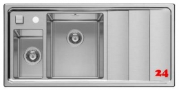 PYRAMIS Küchenspüle Studio 1 1/2 B 1 D LH Einbauspüle / Edelstahlspüle mit Drehknopfventil