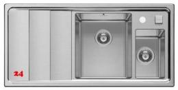 PYRAMIS Küchenspüle Studio 1 1/2 B 1 D RH Einbauspüle / Edelstahlspüle mit Drehknopfventil