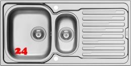 PYRAMIS Küchenspüle Amaltia (100x50) 1 1/2B 1D Einbauspüle / Edelstahlspüle Leinenoptik Siebkorb als Drehknopfventil