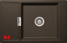 SCHOCK Küchenspüle Mono D-100XS-FB Cristadur® Nano-Granitspüle flächenbündig in 4 Farben mit Holzschneidbrett Bambus