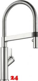 Blanco Küchenarmatur Solenta-S PVD Steel Einhebelmischer / Spültischarmatur mit Pendelbrause und Brausefunktion