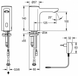 FRANKE F5E Elektronik Standventil F5EV1002 DN 15 für Waschanlagen, opto-elektronisch gesteuert