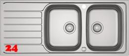 FRANKE Küchenspüle Spark SKX 621 Einbauspüle / Doppelspüle Siebkorb als Drehknopfventil