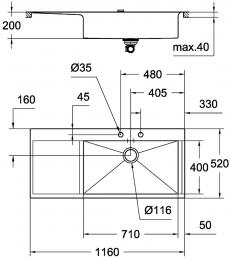 GROHE Spülbecken K1000 80-S 116/52 BR (31582SD0)