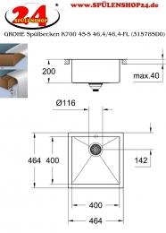 GROHE Spülbecken K700 45-S 46,4/46,4-FL (31578SD0)