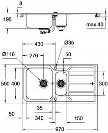 GROHE Spülbecken K500 60-S 97/50 (31572SD0)