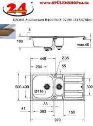GROHE Spülbecken K400 60-S 97/50 (31567SD0)