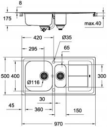 GROHE Spülbecken K300 60-S 97/50 (31564SD0)
