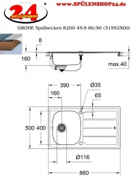 GROHE Spülbecken K200 45-S 86/50 (31552SD0)