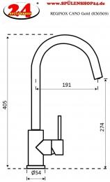REGINOX CANO Gold (R30509) Küchenarmatur / Einhebelmischer Oberfläche Goldfarben
