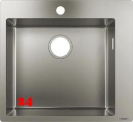 HANSGROHE Küchenspüle S711-F450 Einbauspüle 450 Edelstahlspüle Flachrand Siebkorb als Stopfenventil