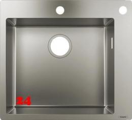 HANSGROHE Küchenspüle S712-F450 Einbauspüle 450 Edelstahlspüle Flachrand Siebkorb als Drehknopfventil
