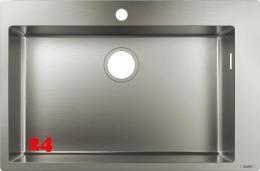 HANSGROHE Küchenspüle S711-F660 Einbauspüle 660 Edelstahlspüle Flachrand Siebkorb als Stopfenventil