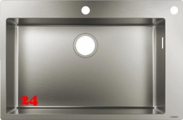 HANSGROHE Küchenspüle S712-F660 Einbauspüle 660 Edelstahlspüle Flachrand Siebkorb als Drehknopfventil