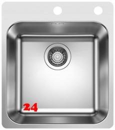 BLANCO Küchenspüle Supra 400-IF/A Edelstahlspüle / Einbauspüle Flachrand mit Hahnlochbank Siebkorb als Zugknopfventil