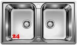 BLANCO Küchenspüle Lemis 8-IF Edelstahlspüle / Doppelspüle Flachrand mit Siebkorb als Drehknopfventil
