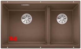 BLANCO Subline 430/270-U Silgranit® PuraDur®II Granitspüle / Unterbaubecken Ablaufsystem InFino mit Handbetätigung