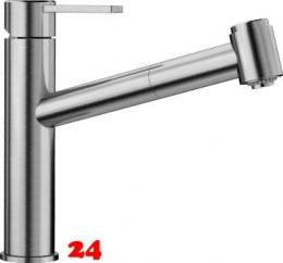 BLANCO Küchenarmatur Ambis-S Edelstahl massiv Einhebelmischer mit Zugauslauf mit Brausefunktion Niederdruck