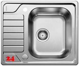BLANCO Küchenspüle Dinas 45-S Mini Edelstahlspüle / Einbauspüle mit Siebkorb als Drehknopfventil