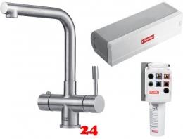 FRANKE Küchenarmatur Mondial 3 in 1 Combi S 100°C Heißwasser-Armatur Festauslauf Edelstahl