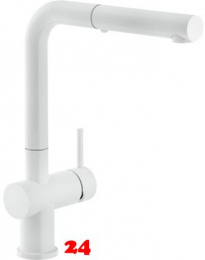 FRANKE Küchenarmatur Active Plus Einhebelmischer White matt mit Zugauslauf als Schlauchbrause